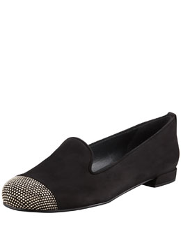 Stuart Weitzman Lingo Nubuck Stud Detail Smoking Slipper, Black