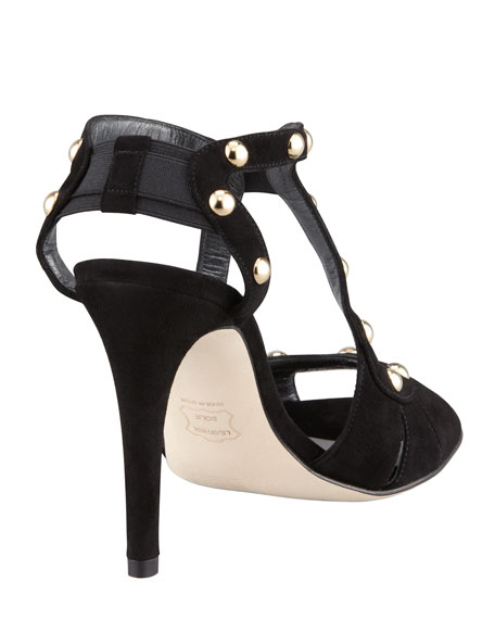 Ratatat Suede Stud Sandal, Black