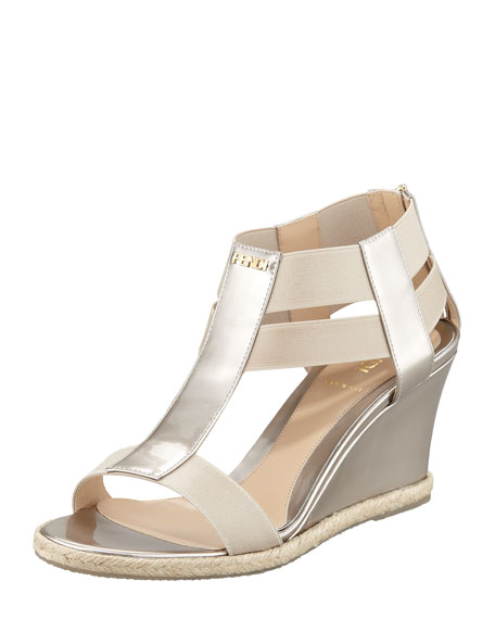 Metallic Patent Leather-Elastic Wedge Pump