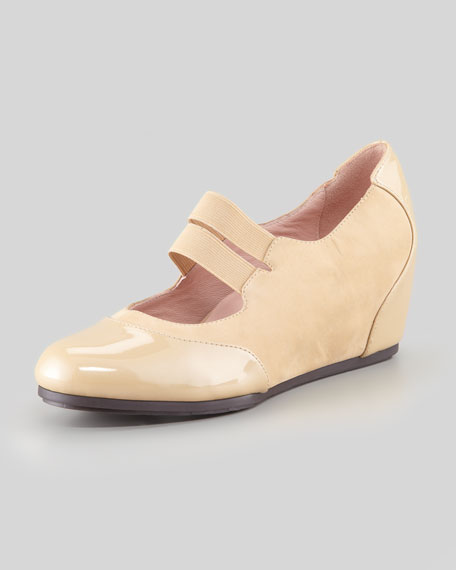 Taryn Rose Danelle Low-Wedge Mary Jane, Beige