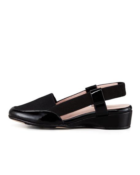 Kamille Patet-Linen Low-Wedge Slingback, Black