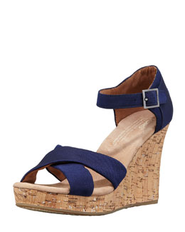 TOMS Grosgrain Cork Wedge Platform Sandal, Navy