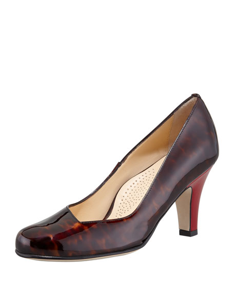 Emily Low Heel Patent Leather Pump, Tortoise