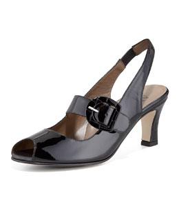 Anyi Lu Tulip Patent Peep-Toe Slingback Sandal, Black