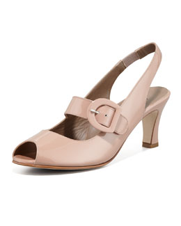 Anyi Lu Tulip Patent Leather Slingback Pump