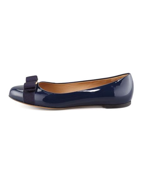Varina Bow-Top Ballerina Flat, Oxford Blue