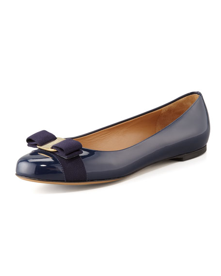 Varina Bow-Top Ballerina Flat, Oxford Blue
