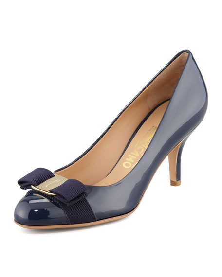 Salvatore Ferragamo Carla Patent Bow Pump, Oxford Blue