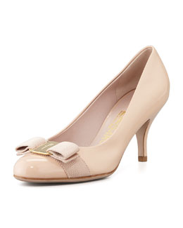 Salvatore Ferragamo Carla Patent Bow Pump, New Bisque