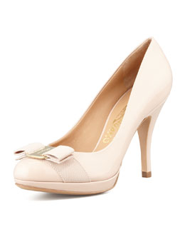 Salvatore Ferragamo Tina Patent Bow Pump, New Bisque