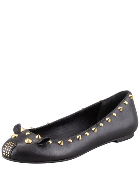 Studded Mouse Ballerina Flat, Black