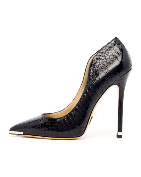 Avra Pointed-Toe Snakeskin Pump