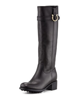 Salvatore Ferragamo Robespierre Gancini Riding Boot, Black