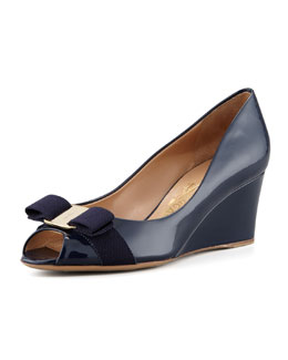 Salvatore Ferragamo Sissi Vara Mid-Wedge Pump, Oxford Blue