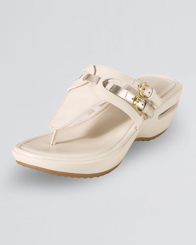 Cole Haan Melissa Buckled Thong Sandal, Ivory/Gold