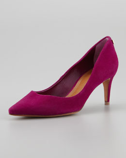 Tory Burch Ivy Low-Heel Suede Pump, Pink