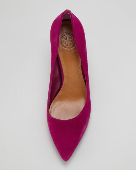 Ivy Low-Heel Suede Pump, Pink