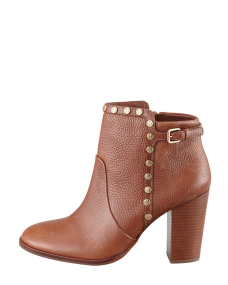 Mae Logo-Studded Ankle Boot, Almond