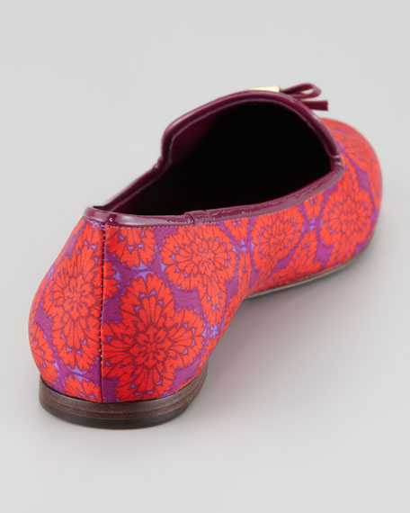 Chandra Printed Smoking Loafer, Orange/Navy