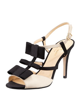 kate spade new york bicolor satin t-strap bow sandal