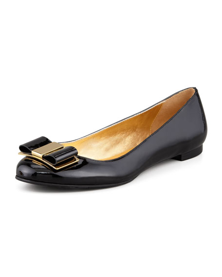 trophy bow patent leather flat, black