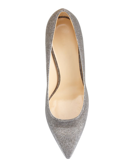 lurex pointed-toe mid-heel pump