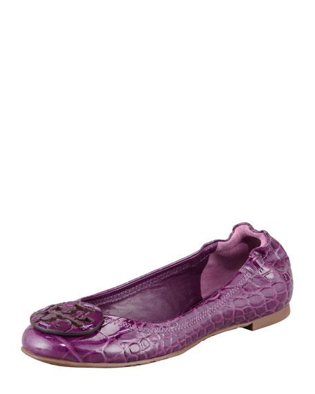 Reva Crocodile-Embossed Patent Ballet Flat, Sweet Plum