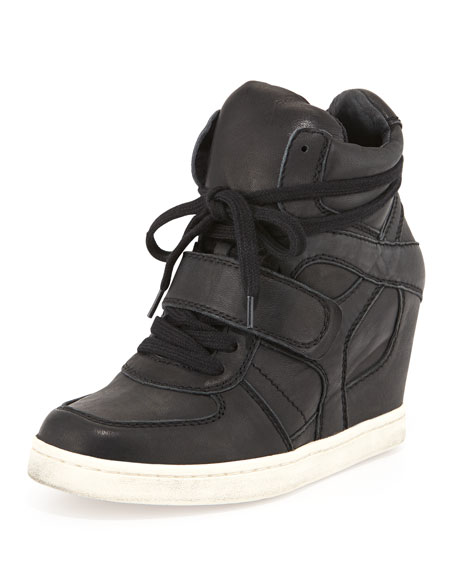 Cool Ter Perforated High-Top Wedge Sneaker, Black