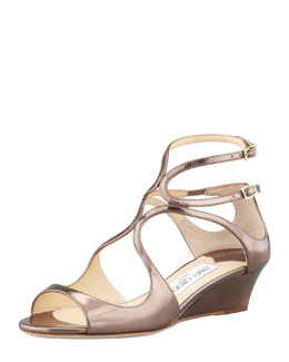 Jimmy Choo Inka Wedge Mirror Sandal, Light Bronze