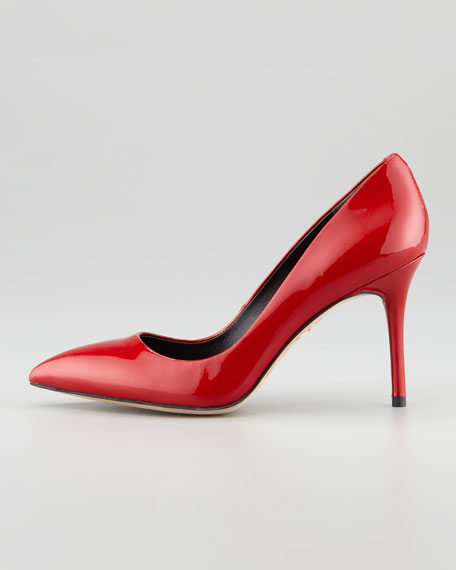 Malika Pointed-Toe Patent Leather Pump, Red
