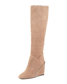 Diane von Furstenberg Paula Suede Wedge Boot, Honey Wheat