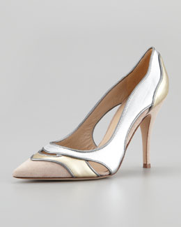 Diane von Furstenberg Bobbie Metallic Cutout Pump, Neutral Metallic