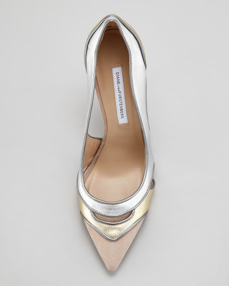 Bobbie Metallic Cutout Pump, Neutral Metallic