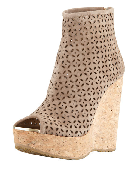 Paw Perforated Suede Cork-Wedge Bootie, Latte