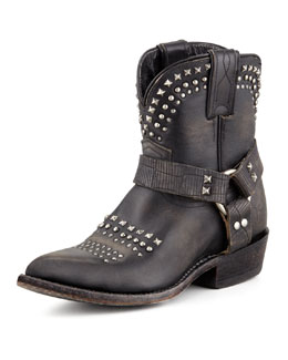 Frye Billy Short Studded Biker Boot, Black