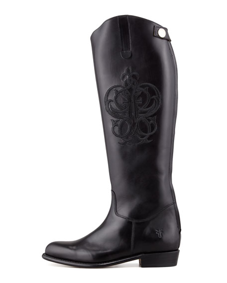 Polished Embroidered Riding Boot, Black