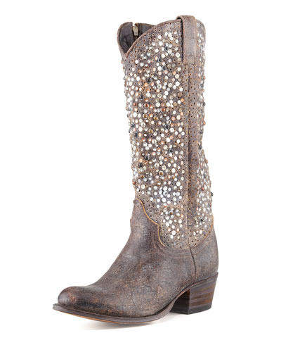 Frye Deborah Studded Vintage Leather Boot, Gray