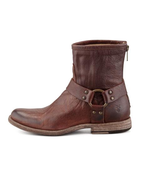 Phillip Short Harness Boot, Dark Brown