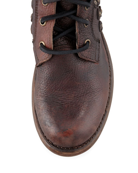 Jenna Disc-Trim Lace-Up Boot, Dark Brown