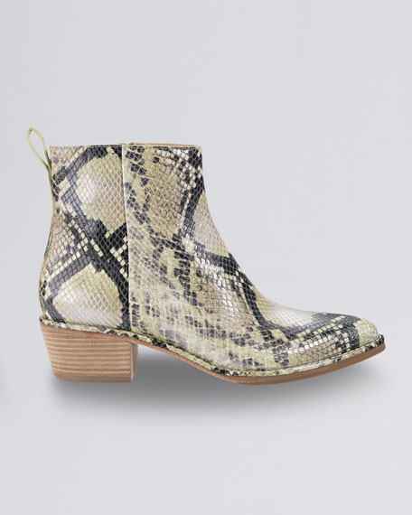 Reilly Short Snake-Print Boot, Natural