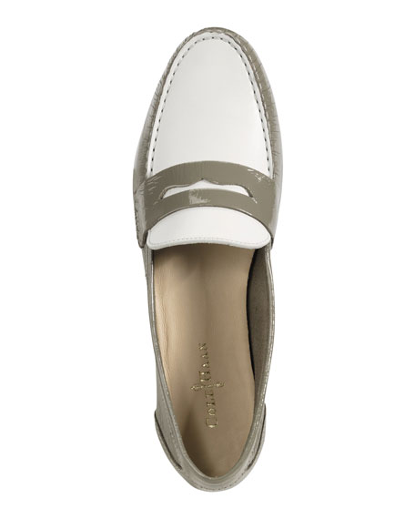 Monroe Deconstructed Penny Loafer, Khaki/White