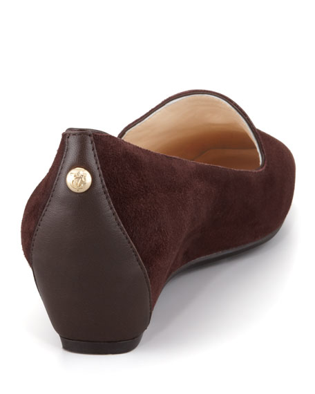 Mable Suede Wedge Smoking Slipper, Espresso