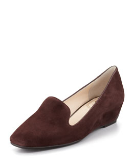 VC Signature Mable Suede Wedge Smoking Slipper, Espresso