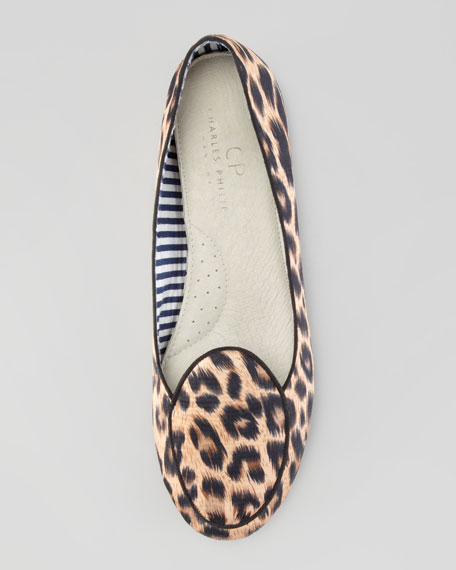 Satin Leopard-Print Smoking Slipper