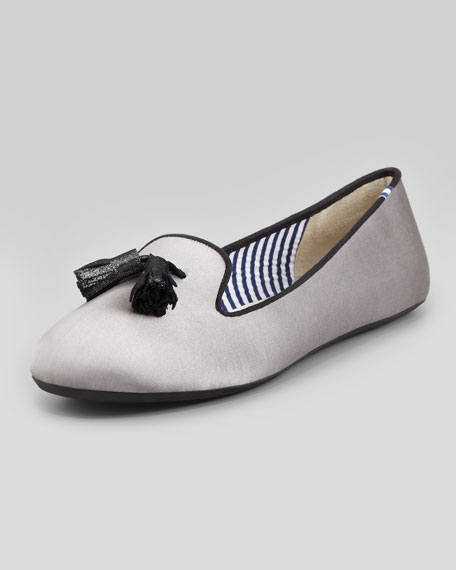 Tassel Satin Smoking Slipper, Silver