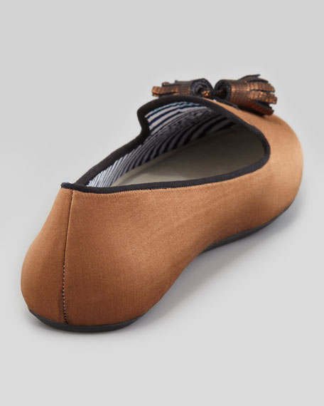 Tassel Satin Smoking Slipper, Bronze