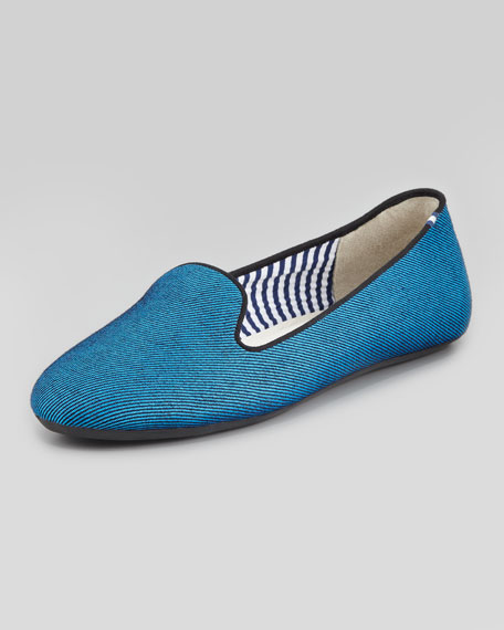 Twill Smoking Slipper, Blue