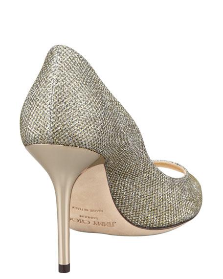 Jimmy Choo Evelyn Peep-Toe Glitter Pumps, Light Bronze