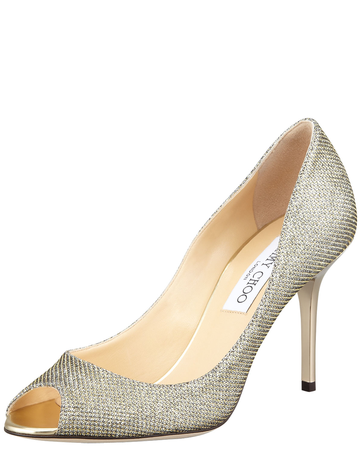 f366b146d Jimmy Choo Evelyn Peep-Toe Glitter Pumps, Light Bronze | Neiman Marcus