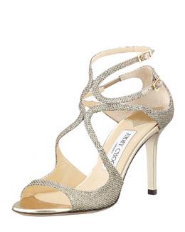Jimmy Choo Ivette Glitter Fabric Crisscross Sandal